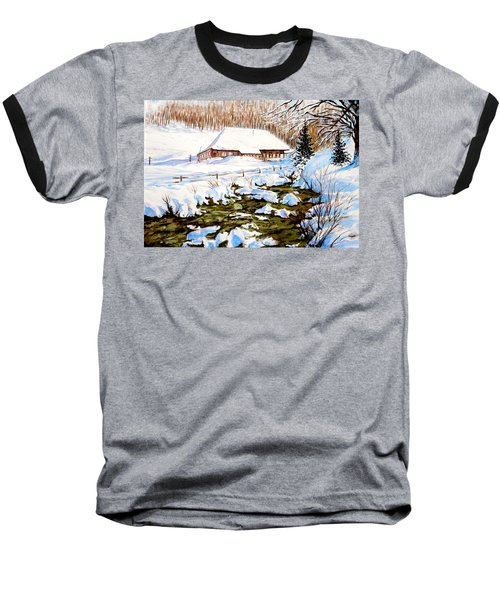 Baseball T-Shirt featuring the painting Clubhouse In Winter by Sher Nasser