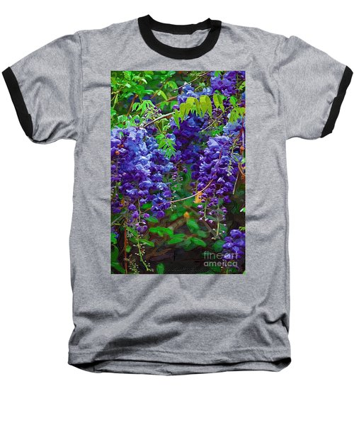 Baseball T-Shirt featuring the photograph Clusters Of Wisteria by Donna Bentley