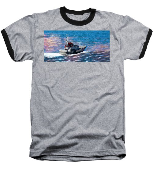 Baseball T-Shirt featuring the photograph Coast Guard Out To Sea by Aaron Berg