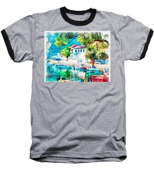 Coastal Cafe Greece Baseball T-Shirt by Yanni Theodorou
