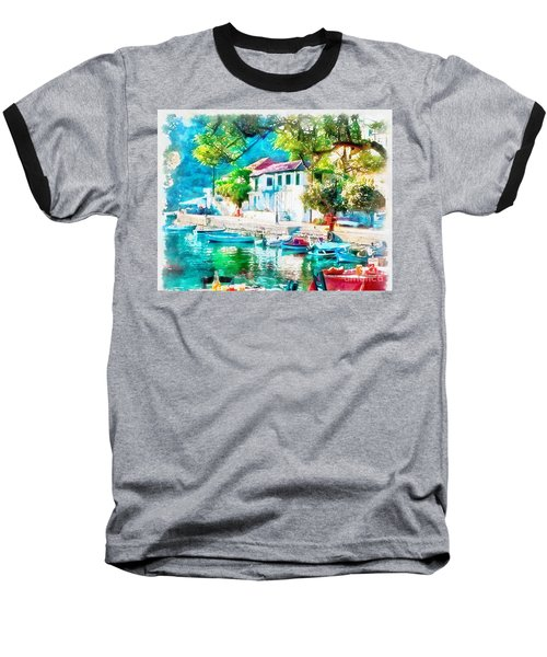 Coastal Cafe Greece Baseball T-Shirt