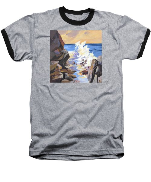 Baseball T-Shirt featuring the painting Coastal Edge by Rae Andrews