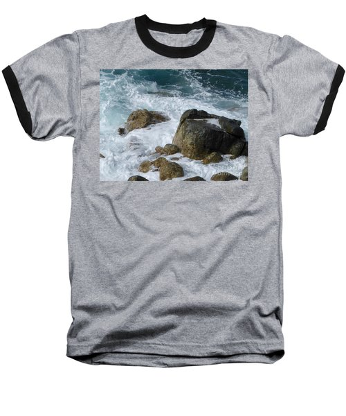 Coastal Rocks Trap Water Baseball T-Shirt by Margaret Brooks