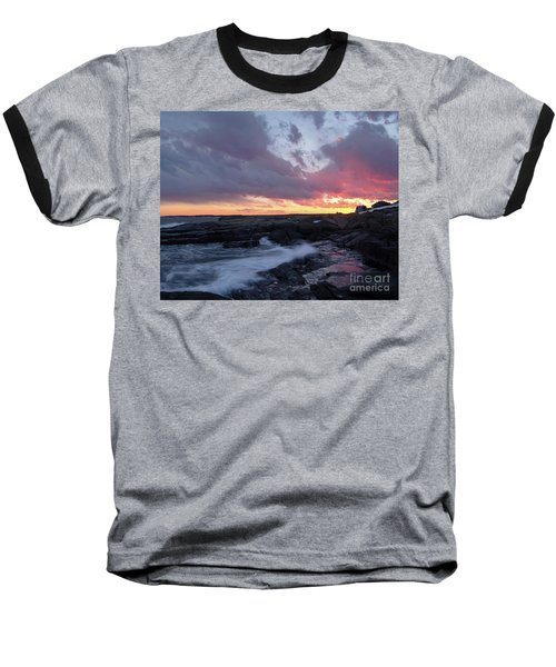 Coastal Sunset Cape Neddick - York Maine  -21056 Baseball T-Shirt