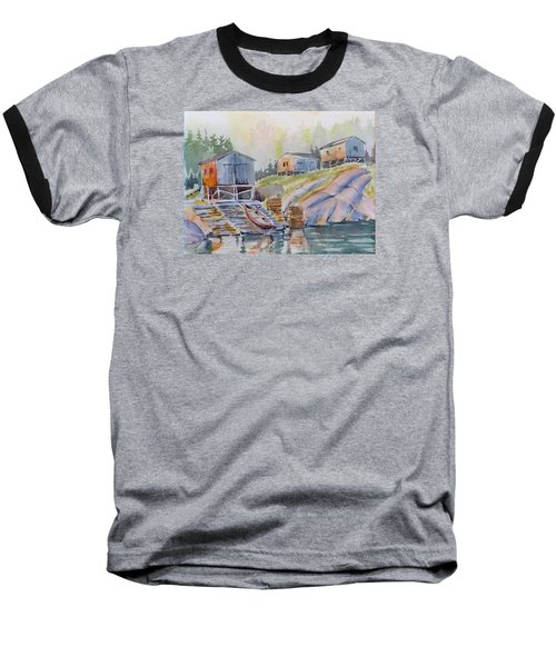 Coastal Village - Newfoundland Baseball T-Shirt by David Gilmore