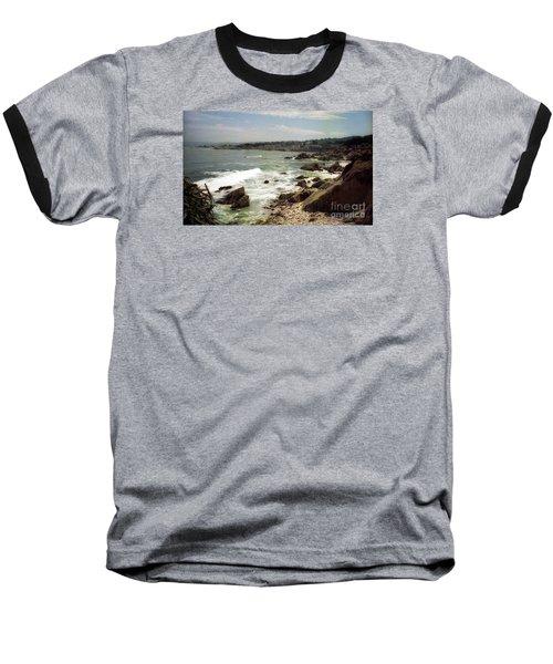 Coastal Waves And Rocks Baseball T-Shirt