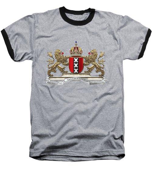 Coat Of Arms Of Amsterdam Over Red Velvet Baseball T-Shirt