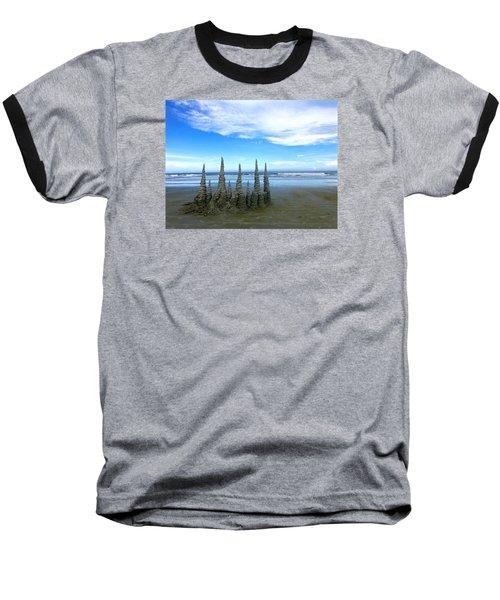 Cocoa Beach Sandcastles Baseball T-Shirt by Amelia Racca