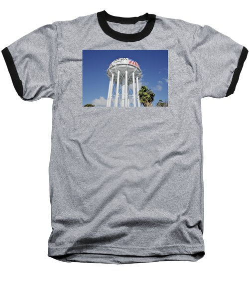 Baseball T-Shirt featuring the photograph Cocoa Water Tower With American Flag by Bradford Martin