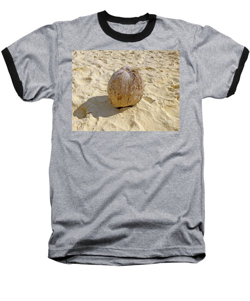 Baseball T-Shirt featuring the photograph Coconut In The Sand by Francesca Mackenney