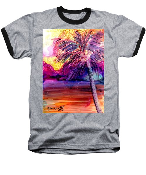 Baseball T-Shirt featuring the painting Coconut Palm Tree 2 by Marionette Taboniar