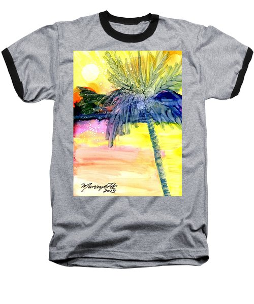 Baseball T-Shirt featuring the painting Coconut Palm Tree 3 by Marionette Taboniar