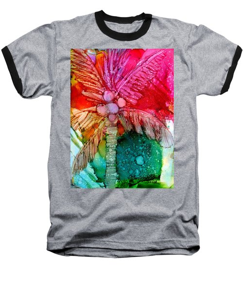Baseball T-Shirt featuring the painting Coconut Palm Tree by Marionette Taboniar