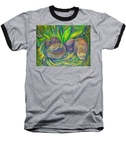 Baseball T-Shirt featuring the painting Coconuts by Anna  Duyunova