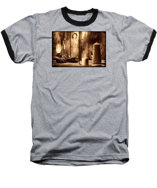 Coffee At The Cabin Baseball T-Shirt by American West Legend By Olivier Le Queinec
