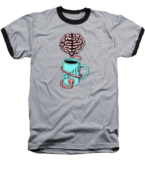 Coffee For The Brain Funny Illustration Baseball T-Shirt