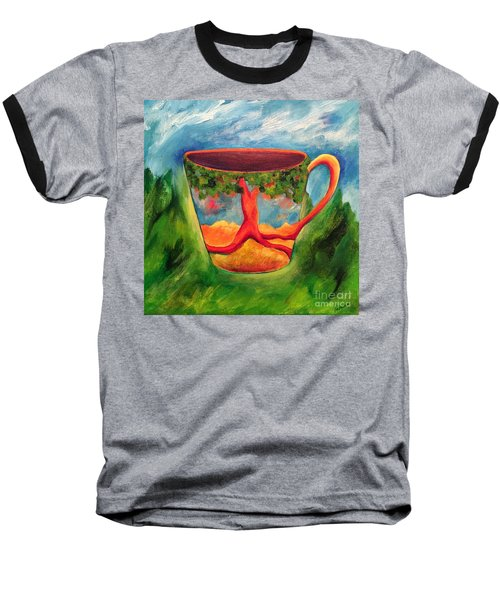 Baseball T-Shirt featuring the painting Coffee In The Park by Elizabeth Fontaine-Barr