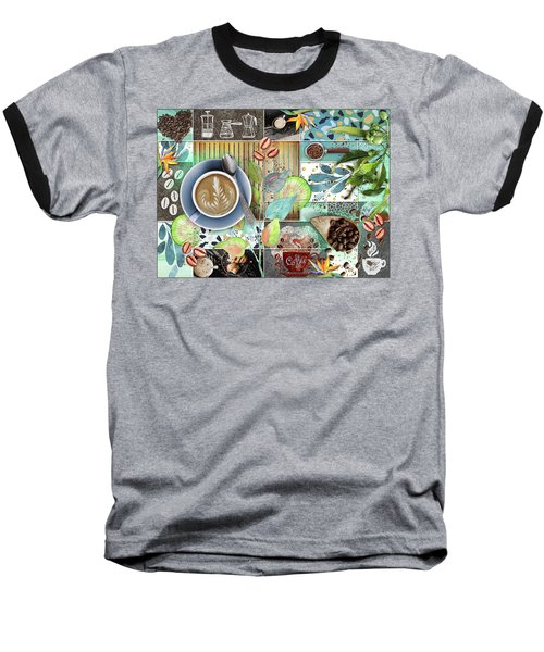 Coffee Shop Collage Baseball T-Shirt