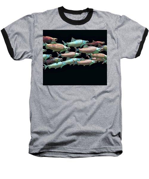 Coho Migration Baseball T-Shirt by Jeff Burgess