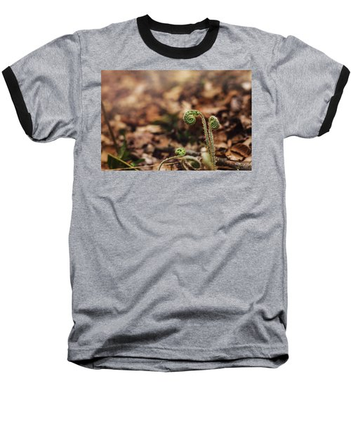 Coiled Fern Among Leaves On Forest Floor Baseball T-Shirt