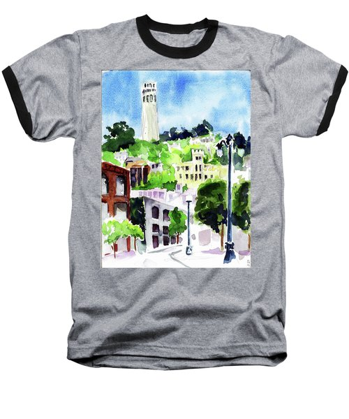 Coit Tower From The Embarcadero Baseball T-Shirt by Tom Simmons