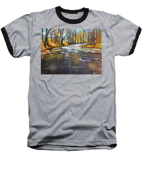 Baseball T-Shirt featuring the painting Cold Day At The Creek by Annamarie Sidella-Felts