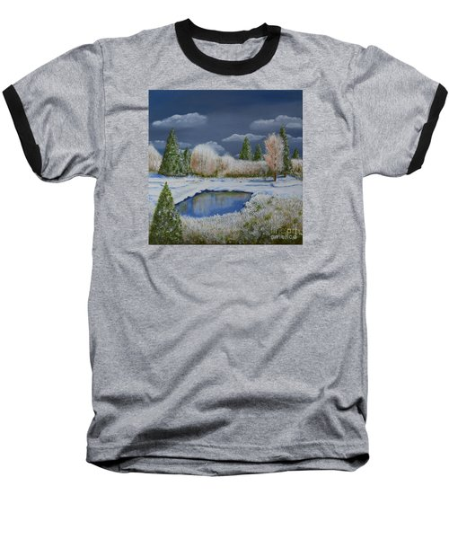 Baseball T-Shirt featuring the painting Cold Sky 1 by Melvin Turner