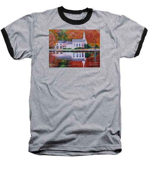 Baseball T-Shirt featuring the painting Cold Spring Harbor St Johns Church by Nereida Rodriguez