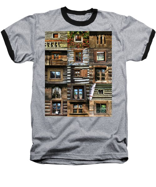 Collage From Handmade Traditional Wooden  Windows In Village Museum Bucharest Baseball T-Shirt