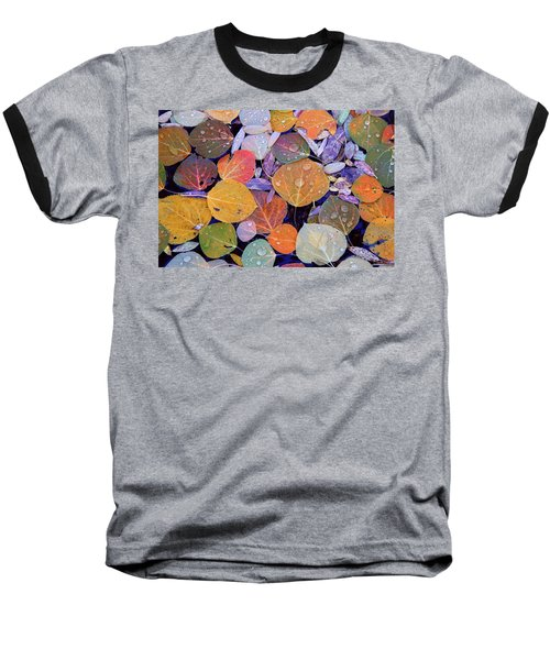 Collage Of Aspen Leaves At Mcgee Creek In The Eastern Sierras Baseball T-Shirt