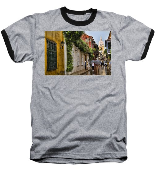 Colonial Buildings In Old Cartagena Colombia Baseball T-Shirt by David Smith