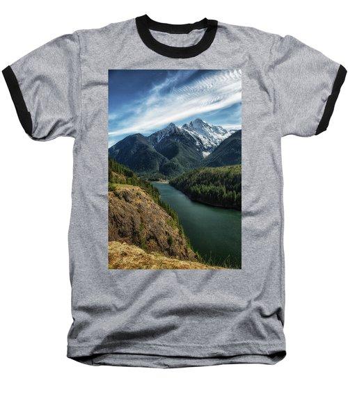 Colonial Peak Towers Over Diablo Lake Baseball T-Shirt by Charlie Duncan