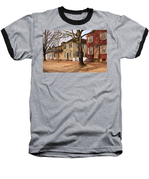 Colonial Street Scene Baseball T-Shirt by Sally Weigand