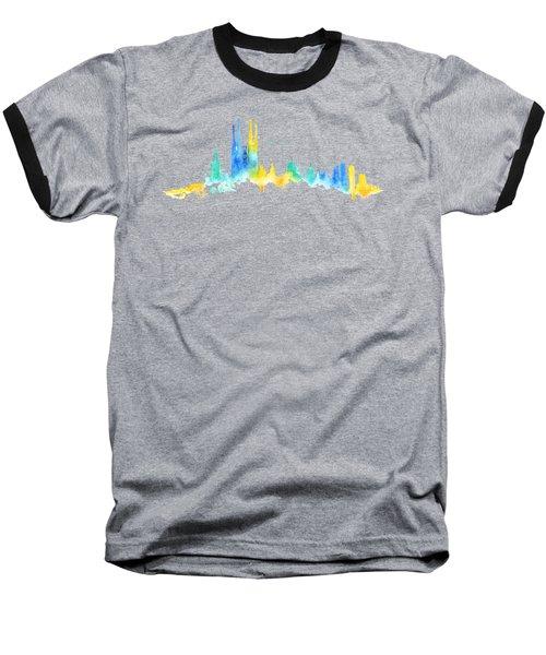 Color Barcelona Skyline 02 Baseball T-Shirt by Aloke Creative Store