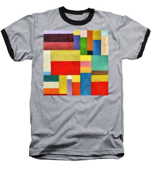 Color Panel Abstract With White Buttons Baseball T-Shirt