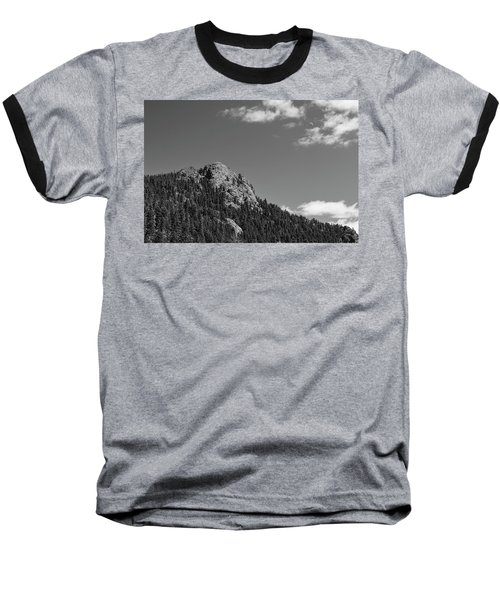 Baseball T-Shirt featuring the photograph Colorado Buffalo Rock With Waxing Crescent Moon In Bw by James BO Insogna