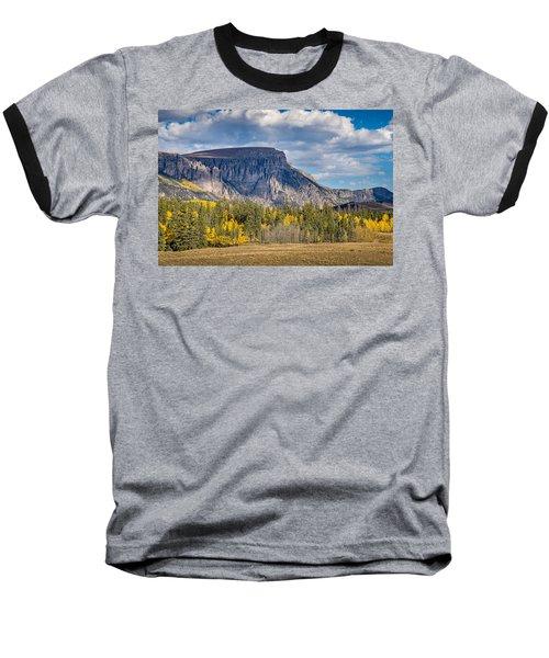 Colorado Fall Landscape With Aspen Trees Between Creede And Lake Baseball T-Shirt by John Brink