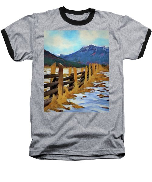 Baseball T-Shirt featuring the painting Colorado Fence Line  by Jeff Kolker