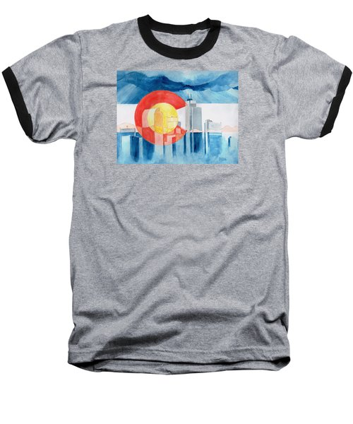 Baseball T-Shirt featuring the painting Colorado Flag by Andrew Gillette