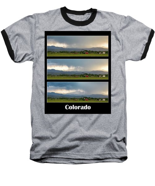 Baseball T-Shirt featuring the photograph Colorado Front Range Longs Peak Lightning And Rain Poster by James BO Insogna