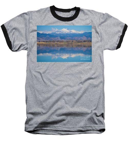 Colorado Longs Peak Circling Clouds Reflection Baseball T-Shirt