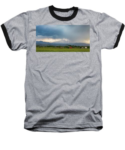 Baseball T-Shirt featuring the photograph Colorado Rocky Mountain Red Barn Country Storm by James BO Insogna