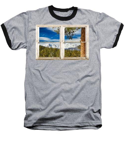 Colorado Rocky Mountain Rustic Window View Baseball T-Shirt