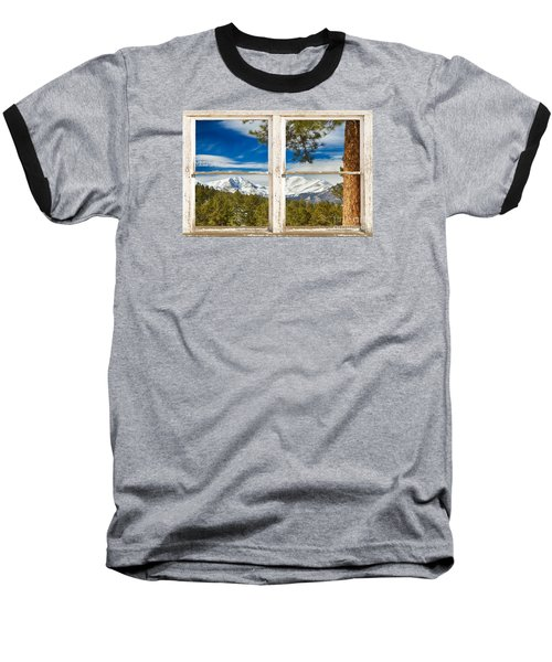 Colorado Rocky Mountain Rustic Window View Baseball T-Shirt