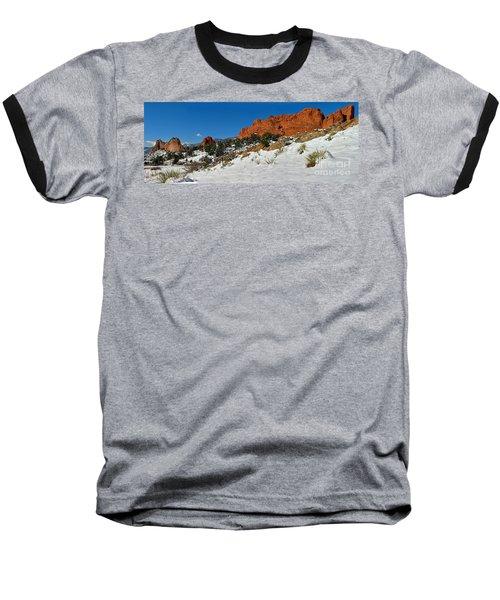 Baseball T-Shirt featuring the photograph Colorado Winter Red Rock Garden by Adam Jewell
