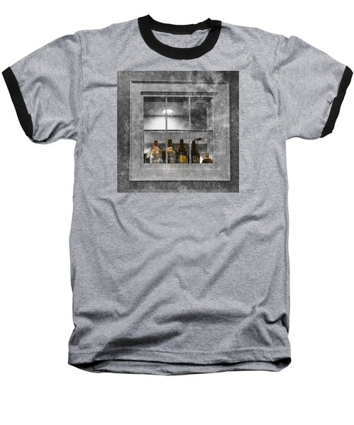 Baseball T-Shirt featuring the photograph Colored Bottles In Window by Tom Singleton