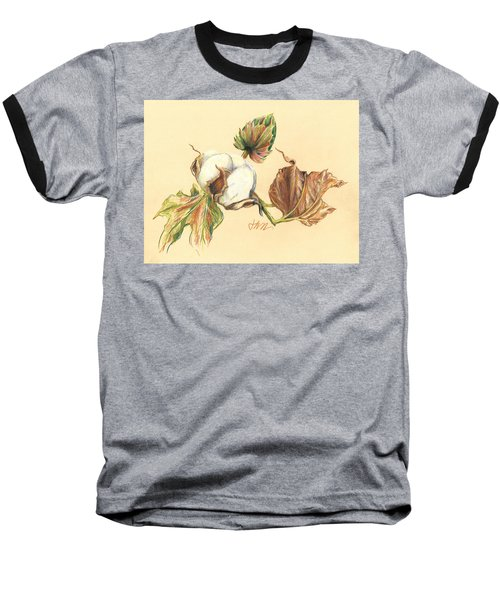 Colored Pencil Cotton Plant Baseball T-Shirt