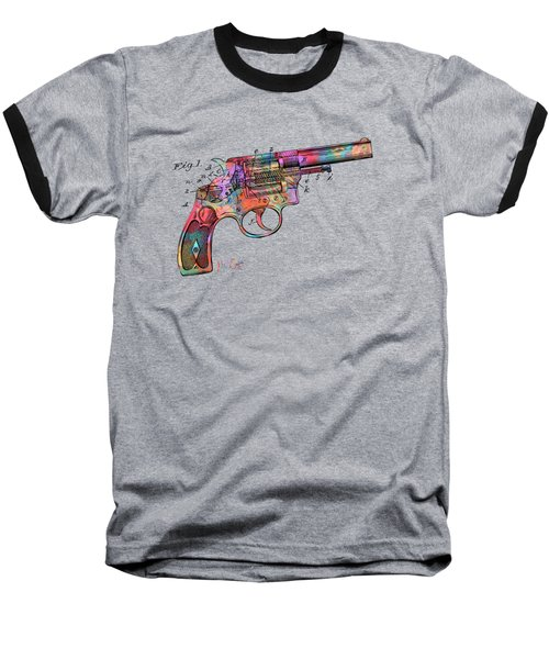 Baseball T-Shirt featuring the digital art Colorful 1896 Wesson Revolver Patent by Nikki Marie Smith