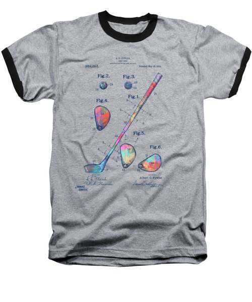 Colorful 1910 Golf Club Patent Baseball T-Shirt