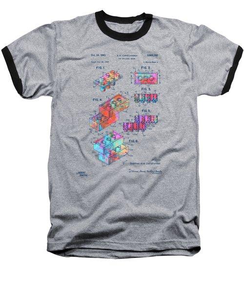 Colorful 1961 Toy Building Brick Patent Art Baseball T-Shirt